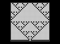 An elementary monodimensional binary cellular automaton -90- with 1 white starting point -bottom middle-