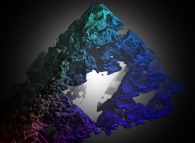 A fractal tridimensional Sierpinski 'carpet' computed by means of an 'Iterated Function System' -IFS-
