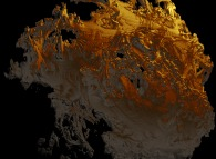 Artistic view of a pseudo-quaternionic Julia set ('MandelBulb' like: a 'JuliaBulb')computed with A=(-0.58...,+0.63...,0,0) -a Tribute to Jos&eacute; Hern&aacute;ndez- -tridimensional cross-section-