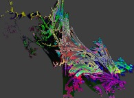 Artistic variation on two quaternionic Julia/Mandelbrot sets -tridimensional cross-section-