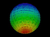 Random quadrangulation of the volume of a sphere -18x18x18-