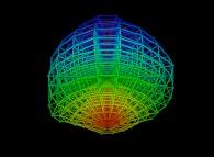 'Regular' quadrangulation of the volume of a 'crumpled' sphere -18x18x8-