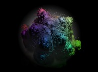 A foggy pseudo-octonionic Mandelbrot set (a 'MandelBulb')-tridimensional cross-section-