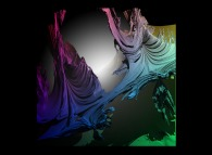 Close-up on a foggy pseudo-quaternionic Mandelbrot set (a 'MandelBulb')-tridimensional cross-section-