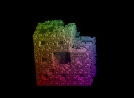 A half-random extended Menger sponge -iteration 5-