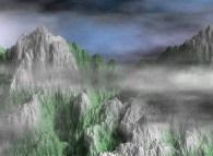 Fractal synthesis of mountains with vegetation and stormy clouds