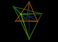 The 'green' reflection of a red tetrahedron obtained by a 'blue' symmetry of each red vertex about the opposite red face