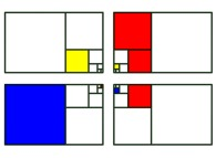 Recursive subdivision of four Golden Rectangles -a tribute to Piet Mondrian-