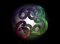 A tridimensional intertwining inside a 'tridimensional epicycloïdal' pseudo-torus
