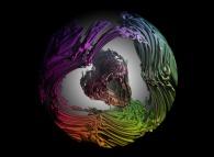 A tridimensional intertwining made of a random tridimensional binary tree inside a sphere