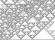 An elementary monodimensional binary cellular automaton -90- with 49 white starting points -on the bottom line-