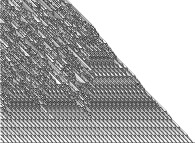 An elementary monodimensional binary cellular automaton -106- with random white starting points -on the bottom line-