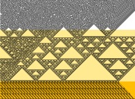 Three successive elementary monodimensional binary cellular automata -106,90,86- with random yellow starting points -on the bottom line-