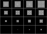 Evolution of a bidimensional binary cellular automaton with 1 white starting central point