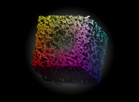 Heterogeneous -tridimensional anti-gaussian field- random meshing of a cube