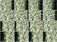 Visualization by means of a set of 4x3 stereograms of the density iso-surfaces (density=0.42)during a tridimensional diffusion process of 128312 particles