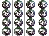 A set of 4x3 stereograms of a fractal sphere