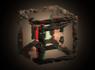 Anaglyph -blue=right, red=left- of a fractal hypercube