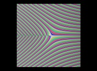 Tridimensional display of the Gamma function inside (-20.0,+20.0)x(-20.0,+20.0) (bird's-eye view)