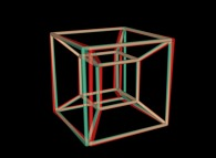 Anaglyph -blue=right, red=left- of an hypercube