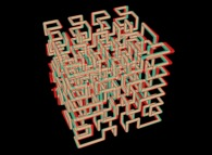 Anaglyph -blue=right, red=left- of the tridimensional Hilbert Curve -iteration 3-