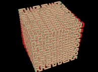 Anaglyph -blue=right, red=left- of the tridimensional Hilbert Curve -iteration 4-
