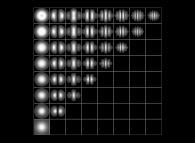 Tridimensional display of 36 eigenstates of the Hydrogen atom (tridimensional computation)