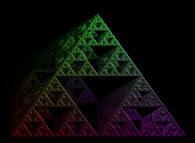 Artistic view of a tridimensional Sierpinski 'carpet' computed by means of an 'Iterated Function System' -IFS-