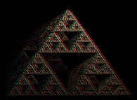 Anaglyph -blue=right, red=left- of an artistic view of a pyramidal Menger sponge computed by means of an 'Iterated Function System' -IFS-