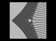 Tridimensional display of the Z=Gamma(Z)iteration inside (-20.0,+20.0)x(-20.0,+20.0) (bird's-eye view)