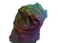 A pseudo-quaternionic Julia set ('MandelBulb' like: a 'JuliaBulb')computed with A=(0.229292,-0.444326,0,0) -tridimensional cross-section-