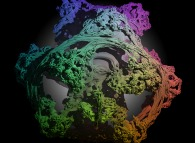 A foggy pseudo-octonionic Julia set ('MandelBulb' like: a 'JuliaBulb')computed with A=(-0.58...,+0.63...,0,0,0,0,0,0) and with a rotation about the X axis -tridimensional cross-section-