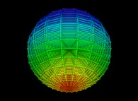 Regular quadrangulation of the volume of a sphere -18x18x18-