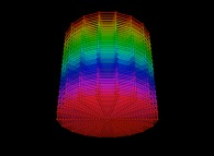 Regular quadrangulation of the volume of a cylinder -18x18x18-