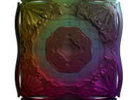An extended foggy 'MandelBox' -tridimensional cross-section-