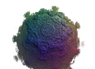 A pseudo-quaternionic Mandelbrot set (a 'MandelBulb')-tridimensional cross-section-