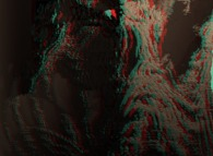 Anaglyph of a close-up on a pseudo-octonionic Mandelbrot set (a 'Mandelbulb')-tridimensional cross-section-
