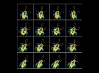 A set of 4x3 stereograms of the Solar System with a green virtual planet -virtual planet point of view-