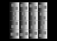 2 identical grey squares moving over a grey scale