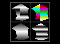 The same bidimensional scalar field displayed with 4 different color palettes