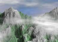Fractal synthesis of mountains with vegetation and clouds