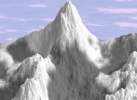 Snowy multifractal mountains