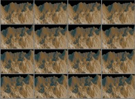 A set of 4x3 stereograms of a fractal mountain
