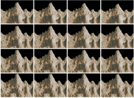 A fractal mountain using a gaussian model with various standard deviation values (decreasing from 0.06 to 0.02)