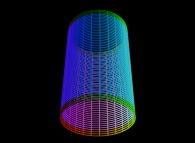 A cylinder defined by means of three bidimensional fields