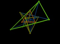 The double reflection -green- of a small arbitrary tetrahedron -center red-