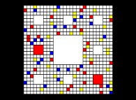 The Sierpinski carpet -iteration 3- with colors -a tribute to Karl Menger and Piet Mondrian-