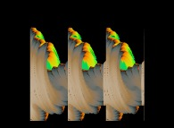 True colors autostereogram of a quaternionic Julia set -tridimensional cross-section-