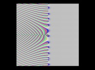 Tridimensional display of the Riemann Zeta function inside [-50.0,+50.0]x[-50.0,+50.0] (bird's-eye view)